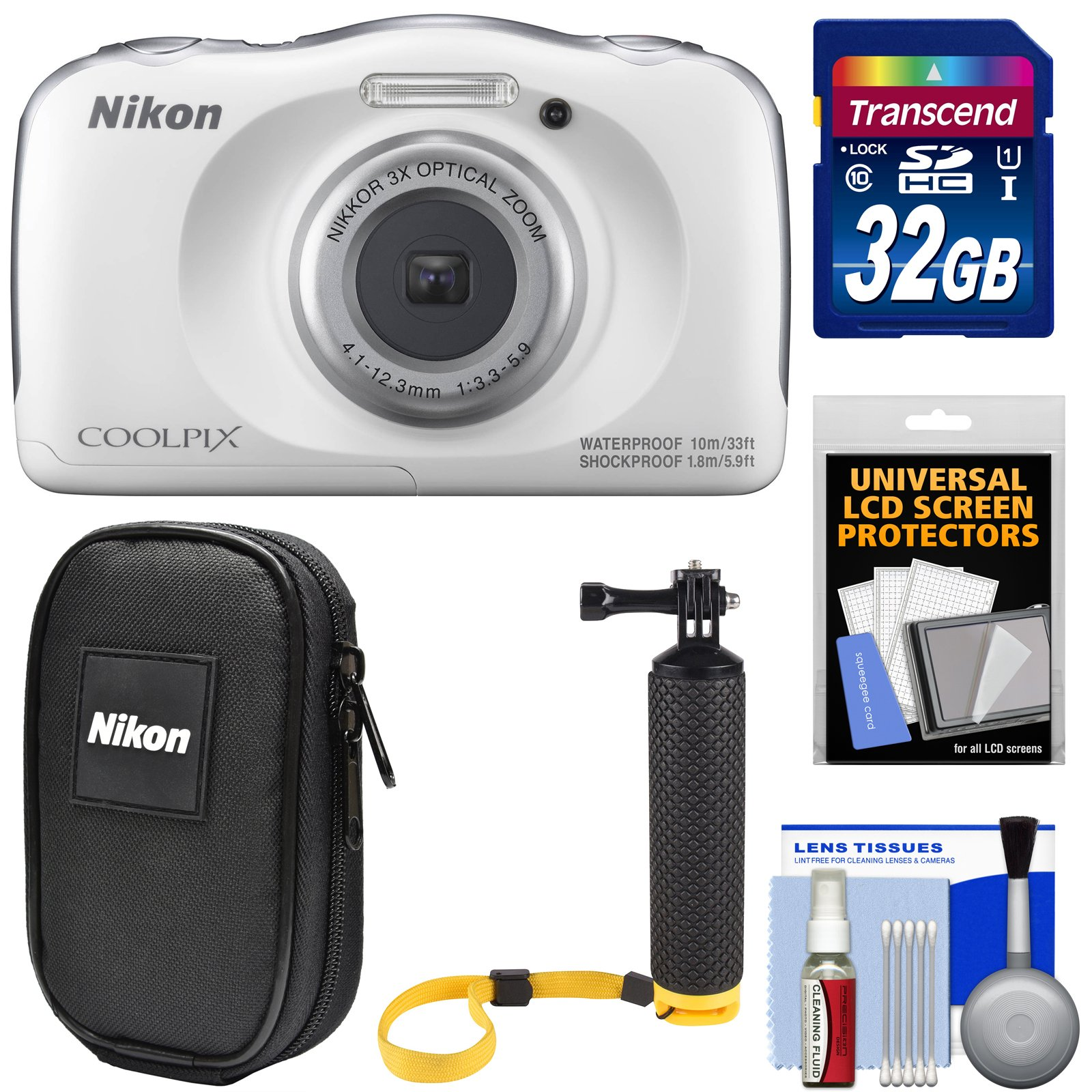 Nikon Coolpix W100 Wi-Fi Shock & Waterproof Digital Camera (White) with 32GB Card + Case + Floating Handle + Kit