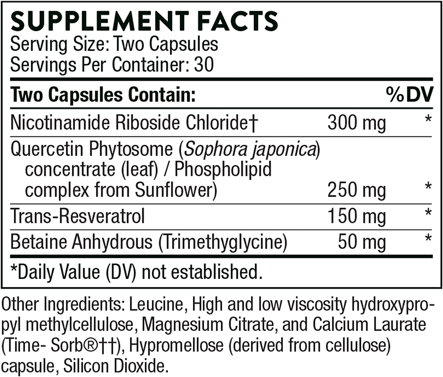 Amazon Com Thorne Research Resveracel Nicotinamide Riboside Niagen With Resveratrol And Cofactors Supports Healthy Aging 60 Capsules Health Personal Care