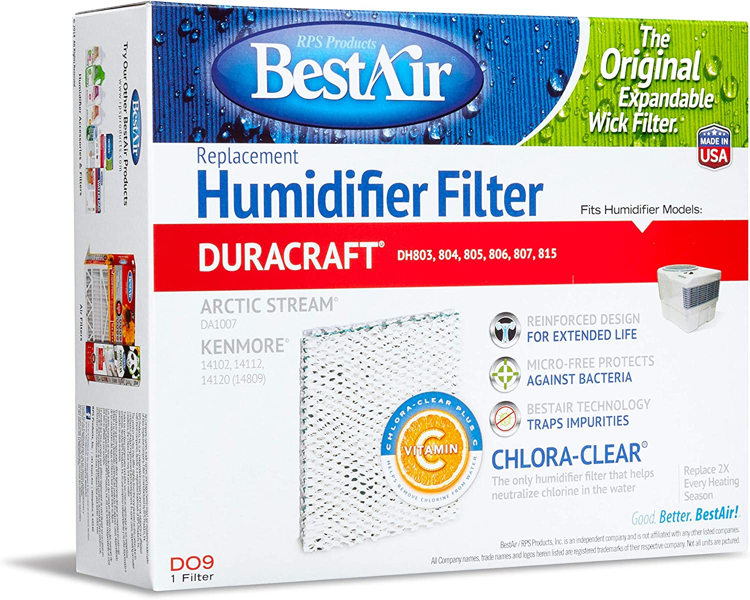 BestAir DO9, DuracraftKenmore Replacement, Paper Wick Humidifier Filter, 8.6