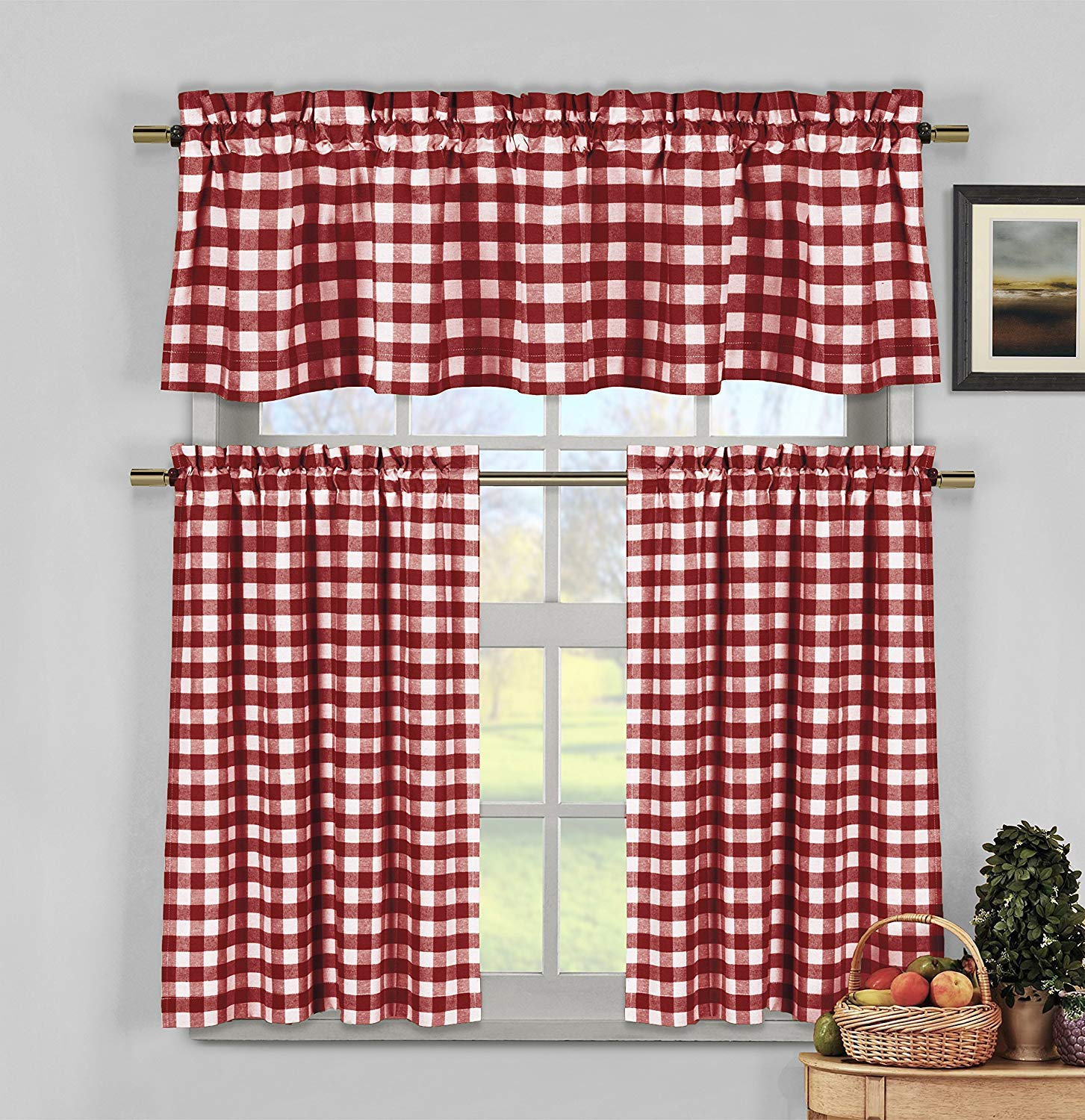 3 Piece Plaid, Checkered, Gingham 35% Cotton Kitchen Curtain Set with 1 Valance and 2 Tier Panels (Burgundy) plus a free wooden hanger