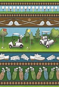 Toland Home Garden Country Club Collage 12.5 x 18 Inch Decorative Fun Sport Outdoors Golf Cart Club Ball Game Garden Flag