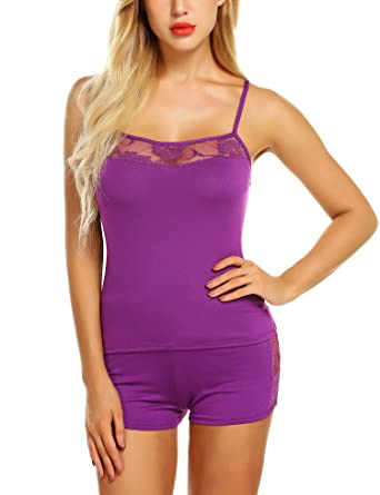 f06155f3342 Chomoleza Women Sleepwear Lace Pajamas Shorts Set Sexy Pjs Sets Nightwear  Camisole Short Sets Purple
