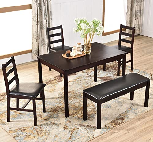 Harper Bright Designs 5 Piece Dining Table Set, Dining Table Set for 4 Solid Wood Kitchen Table Set with Bench and Three Cushioned Chairs