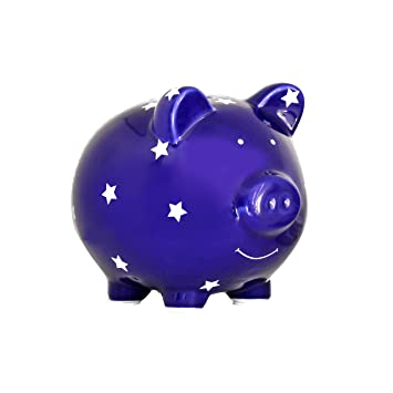 Baby Boy Gifts Nursery Decor Coin Bank Navy Blue with Stars Pearhead Ceramic Piggy Bank Baby Birthday Gifts