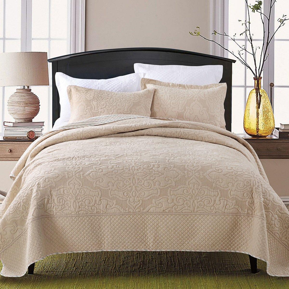 Bettwäscheset 3 Teilig aus 100% Baumwolle Umweltfreundlich Weich Steppdecke 230x250cm & 2 Kissenbezüge 48x74cm Sommer Bettwaren (Beige)
