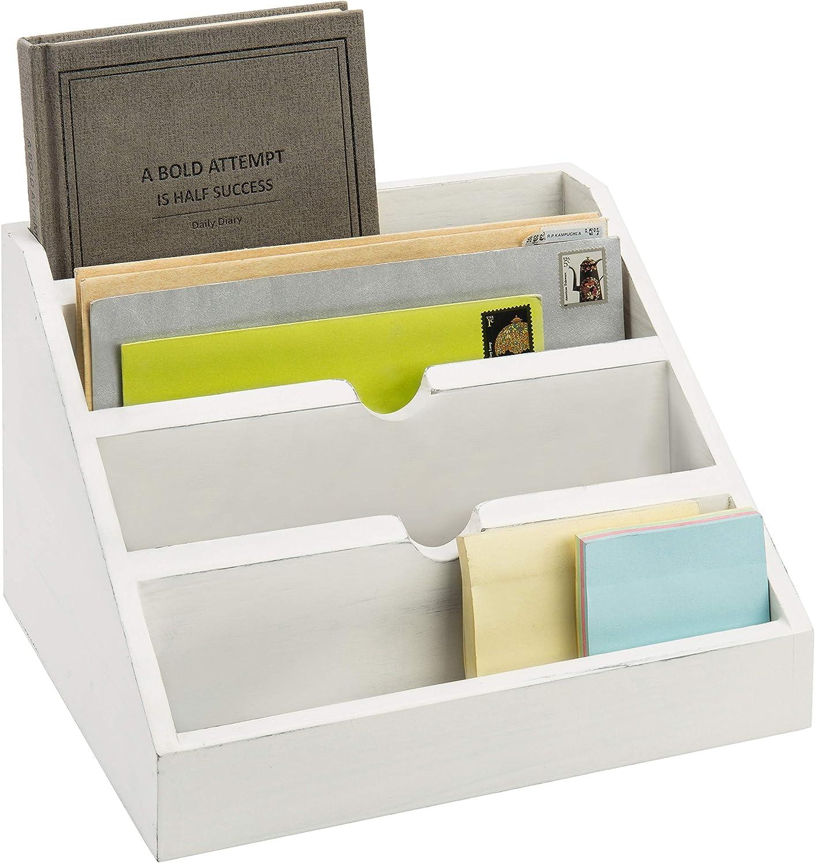 MyGift 4-Compartment Vintage White Wood Desktop Mail Sorter/Office Desk Stationery Organizer