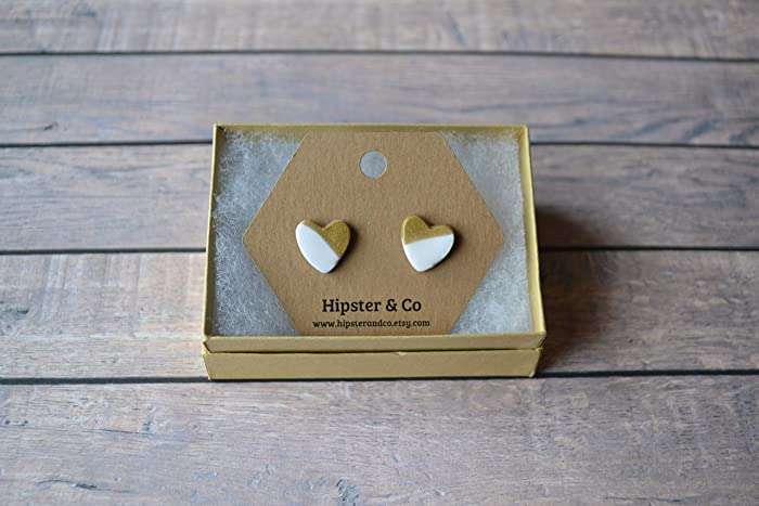 6af08d96c Amazon.com: Heart Shaped Flat Polymer Clay Stud Earrings - White ...