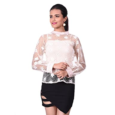 Girliyana Women s Floral Netted Pink Top  Amazon.in  Clothing   Accessories 0ef972a6e
