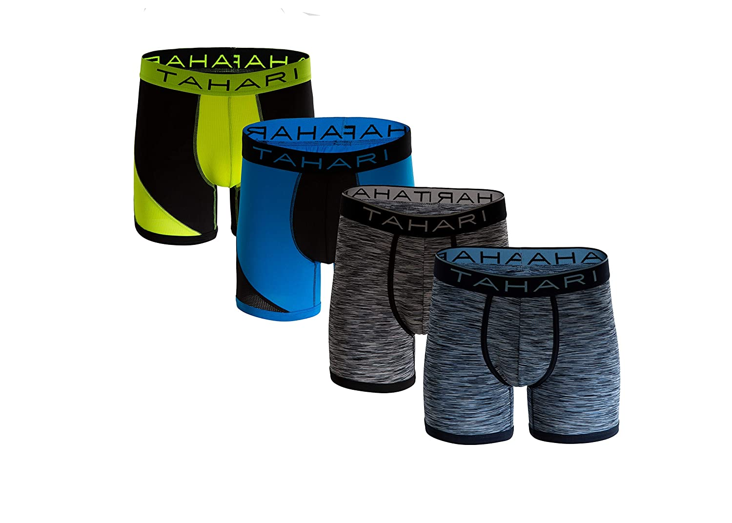 Tahari Men's Micro Modal Boxer Brief with Comfort Waistband 4-Pack Assorted Colors (Tag Less) Trunk 4PackMicro