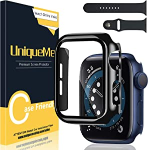 [1+1 Pack] UniqueMe Screen Protector for Apple Watch SE/Series 6/5 / 4 44mm Tempered galss,1 Pack PC case with Tempered Glass and 1 Pack iWatch Band for Apple Watch SE/Series 6/5 / 4 44mm.