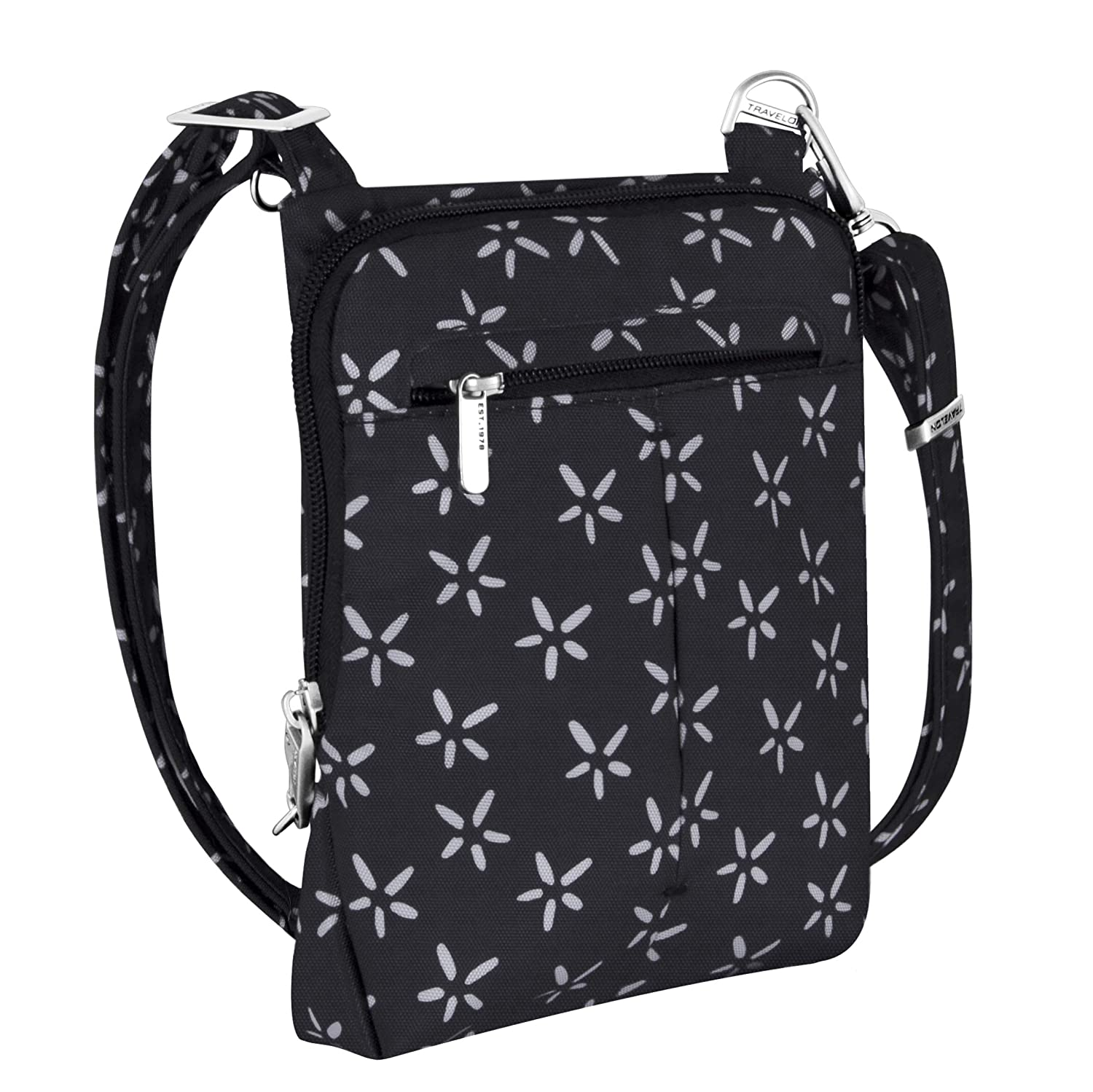 19fc125a9a1e Travelon Anti-Theft Classic Light Mini Crossbody Bag (A B W SMALL FLOWER  PRINT)