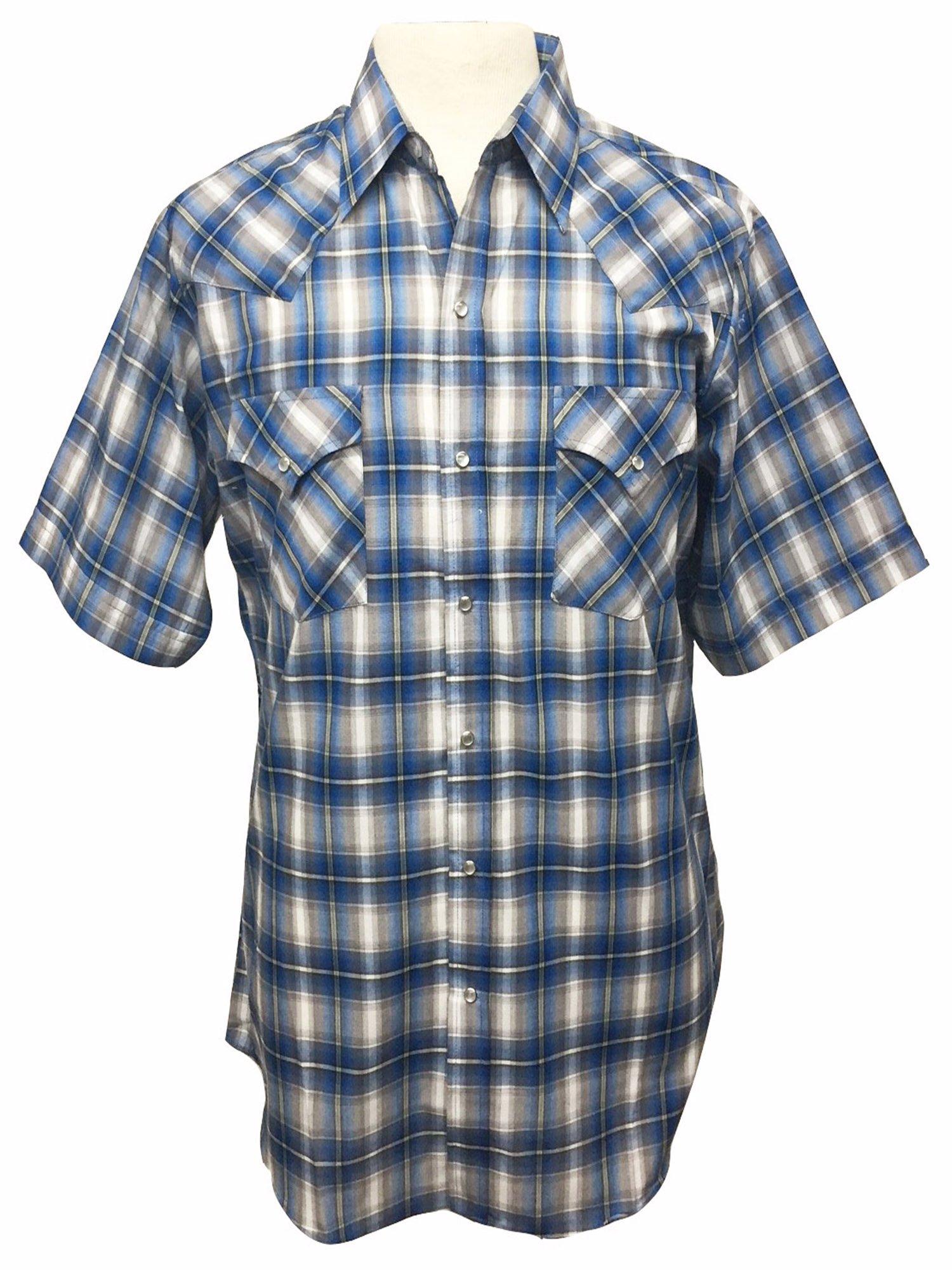 Ely Cattleman Short Sleeve Mens Plaid Snap Western Cowboy Style Shirt - Blue
