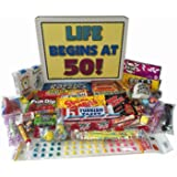 Woodstock Candy 50th Birthday Party Celebration Gift Box of Retro Candy - Life Begins At 50 Years Old