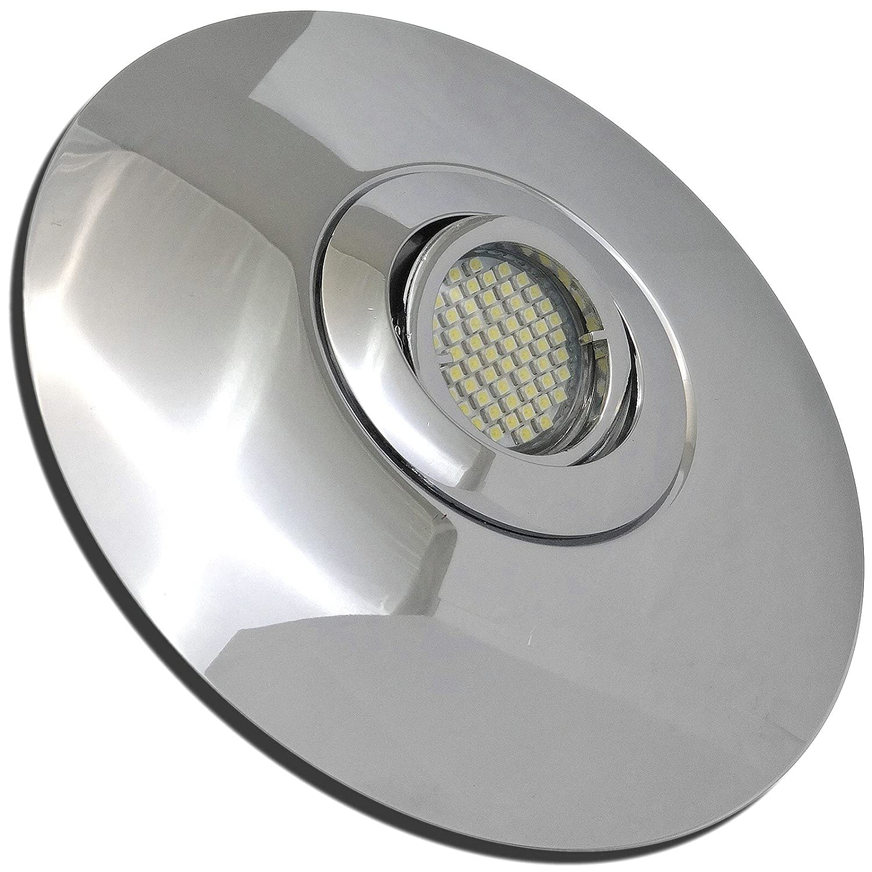3 Stück SMD LED Einbaustrahler Big Lana 12 Volt 3 Watt Schwenkbar inkl. Trafo Chrom Warmweiß