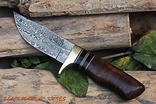 Black Mamba Knives BMK-100 Hyena 4 Inches Blade Hunting Camping Damascus Hunting Hand Made Damascus Knive