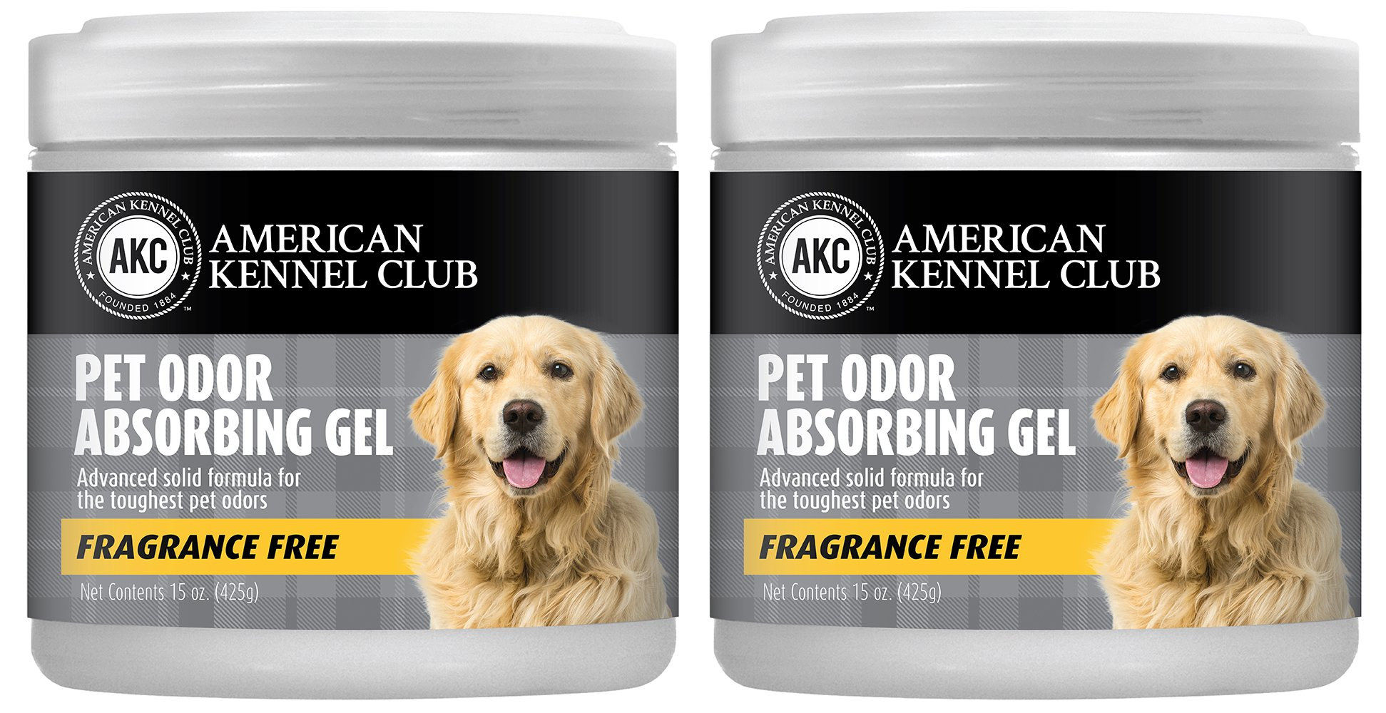 Pet Odor Absorber Gel - Specially Formulated for the Toughest Pet Odors - American Kennel Club - 2 Pack (2 x 15 OZ) (Fragrance Free)