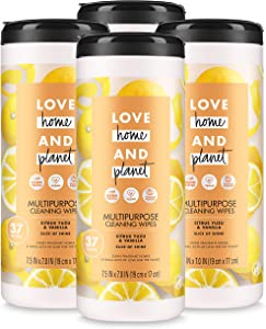 Love Home and Planet Multi-Purpose Cleaning Wipes Citrus Yuzu & Vanilla 37 Count (Pack of 4)