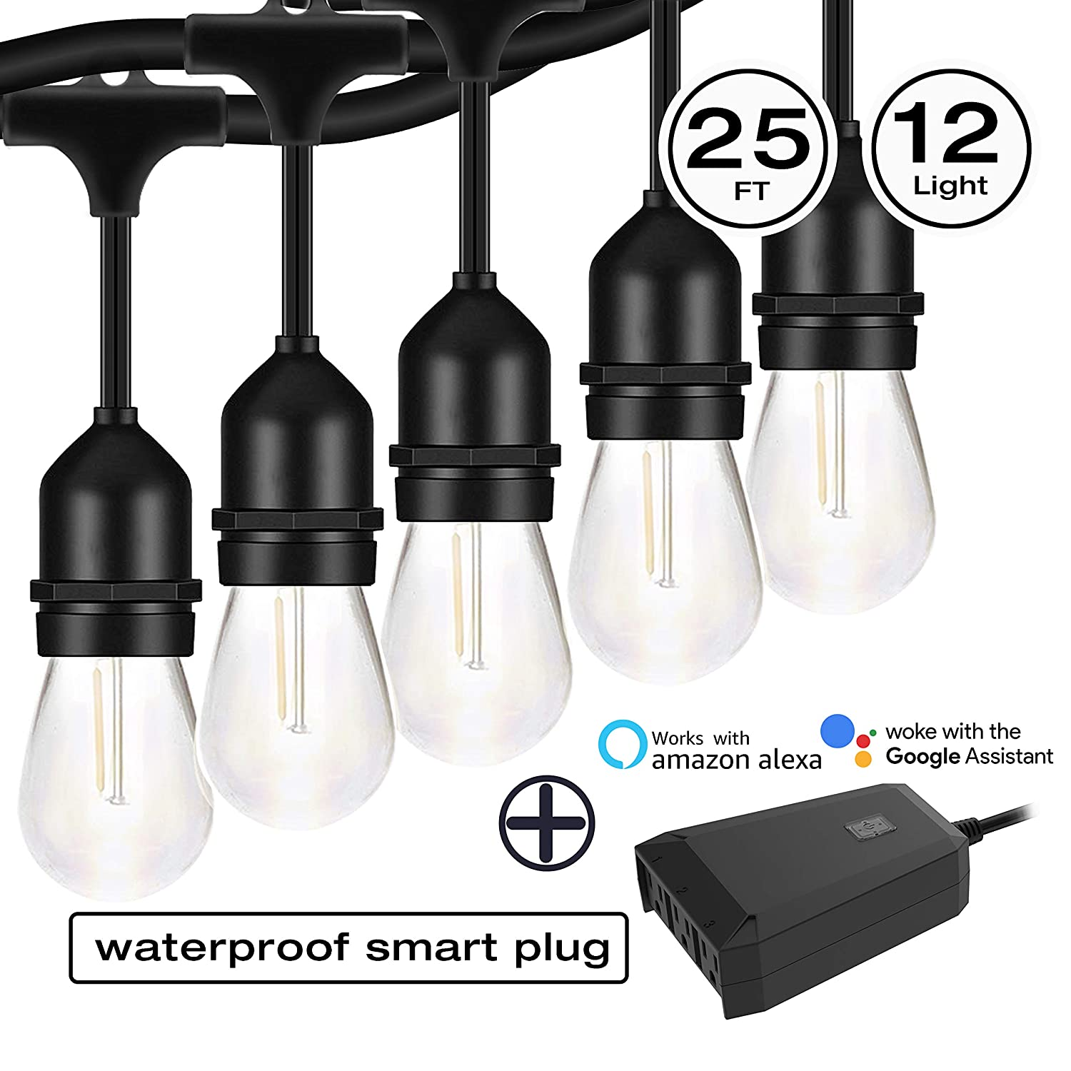 1 in 3 Out Timer Compatible with Alexa and Google Home,No Hub Required, Electro bp Outdoor//Indoor IP44 Waterproof 2.4Ghz WiFi Outlet Plug