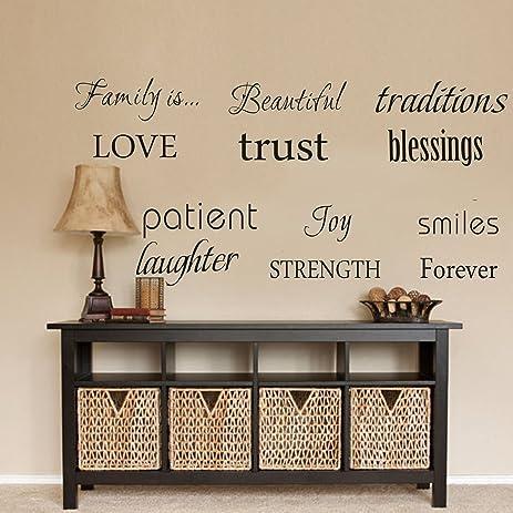 Amazon.com: LUCKKYY Family Wall Decal~~ Set of 12 Family Words ...