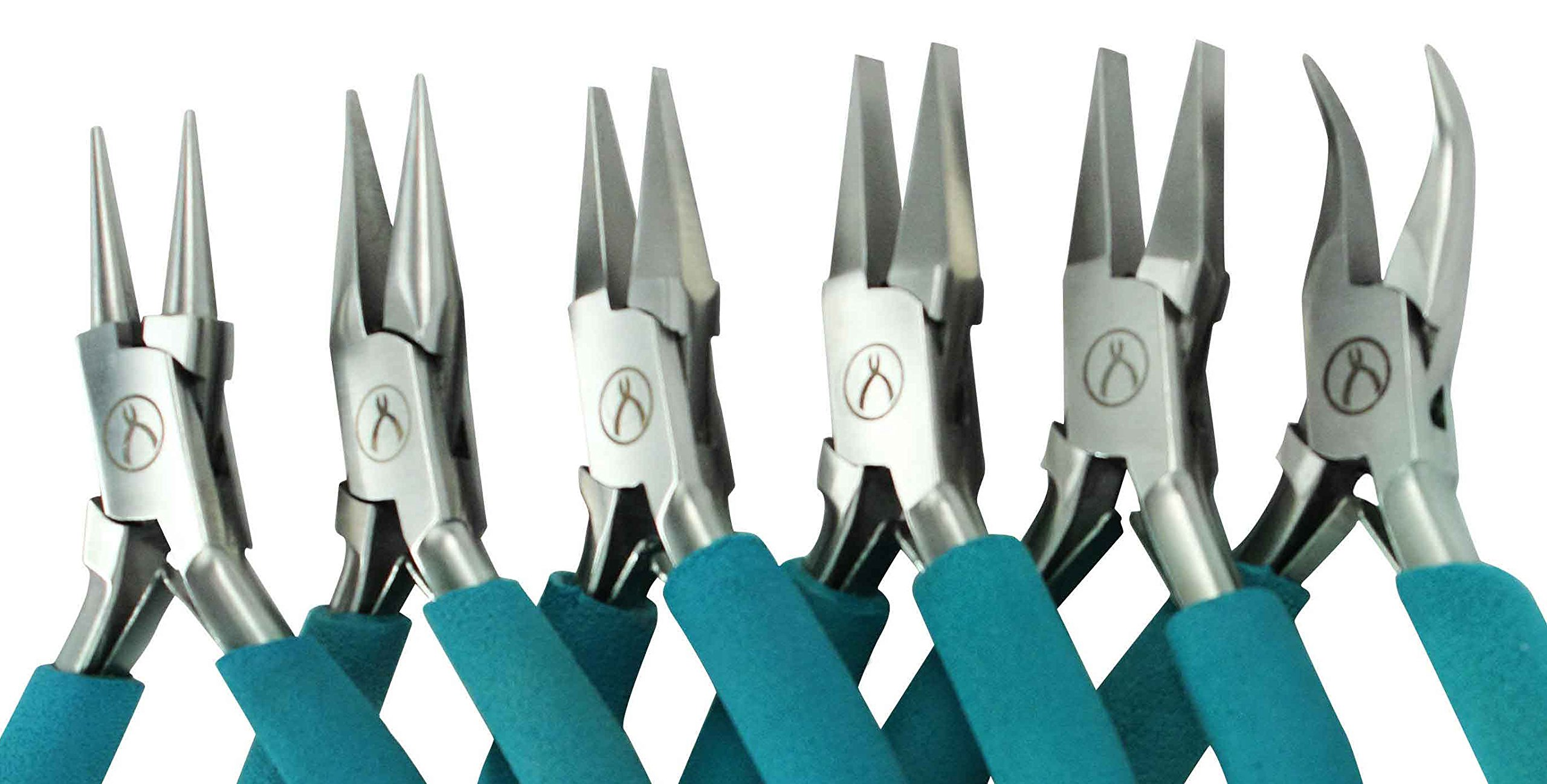 Wubbers Classic Pliers, Set with Round Nose, Narrow Flat Nose, Medium Flat Nose, Wide Flat Nose, Chain Nose, and Bent Chain Nose Pliers, with Plier Care Article by Jewelry Artist Charlene Anderson