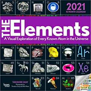 The Elements Calendar 2021 Bundle - Deluxe 2021 Elements of Nature Wall Calendar with Over 100 Calendar Stickers (Science Gifts, Office Supplies)