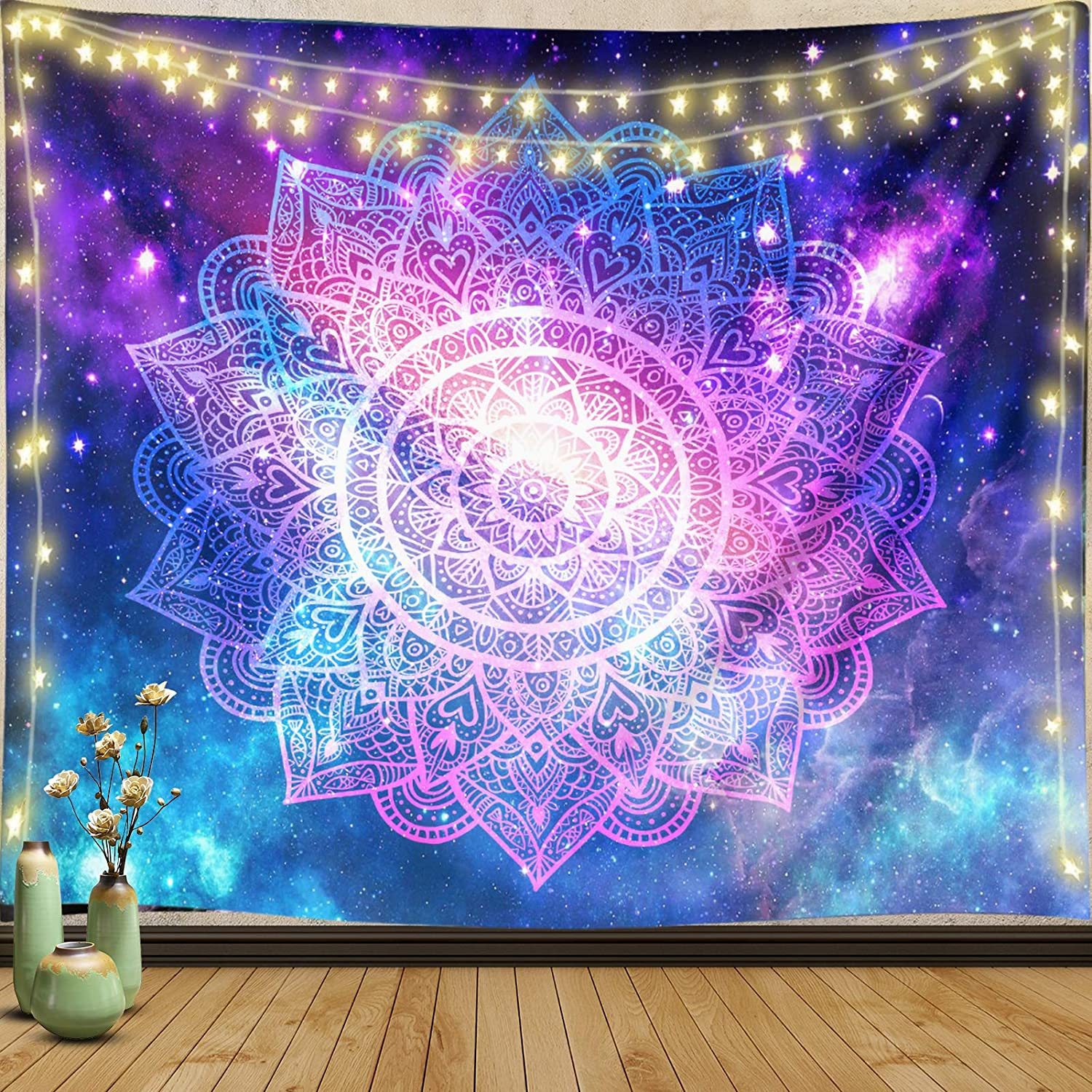 JaosWish Mandala Tapestry Wall Hanging Trippy Space Galaxy Hippie Bohemian Tapestry Wall Art Blanket Decor Tapestry for Bedroom Dorm Living Room