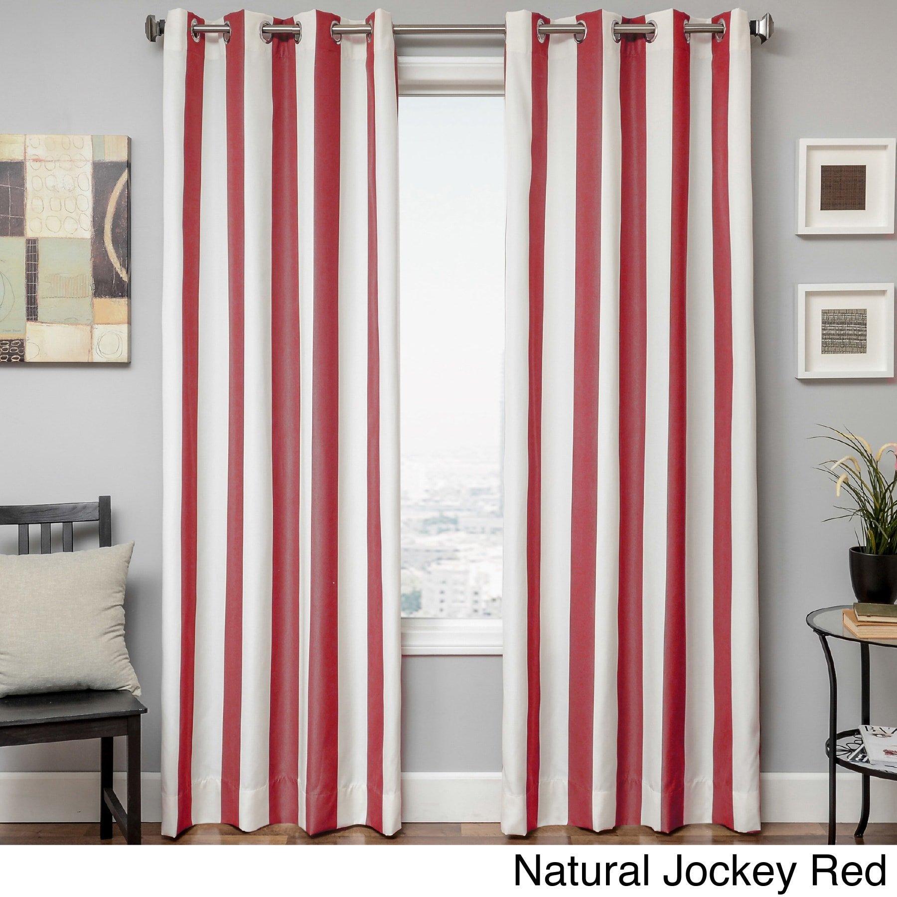 Softline Sunbrella Cabana Stripe Indoor/Outdoor Curtain Panel Red 52 x 96 96 Inches