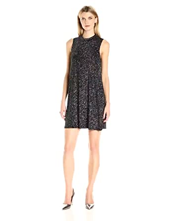 16a4b51a7d26 Tiana B Women's Sleeveless Glitter Knit Mock Neck Swing Dress, Black/Silver  6