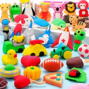Hekaty 30 PCS Animal Erasers Puzzle Pencil Erasers 3D Mini Erasers Puzzle Erasers Classroom Reward Food Space Sport Vehicle Take Apart Erasers Desk Pets Game Prizes Treasure Box Party Favors for Kids