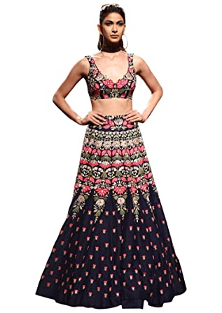 f5598a502a Fabron Navy Blue Semi Velvet Embroidered Semi Stitched Lehenga Choli  Material With Matching Soft Net Dupatta: Amazon.in: Clothing & Accessories