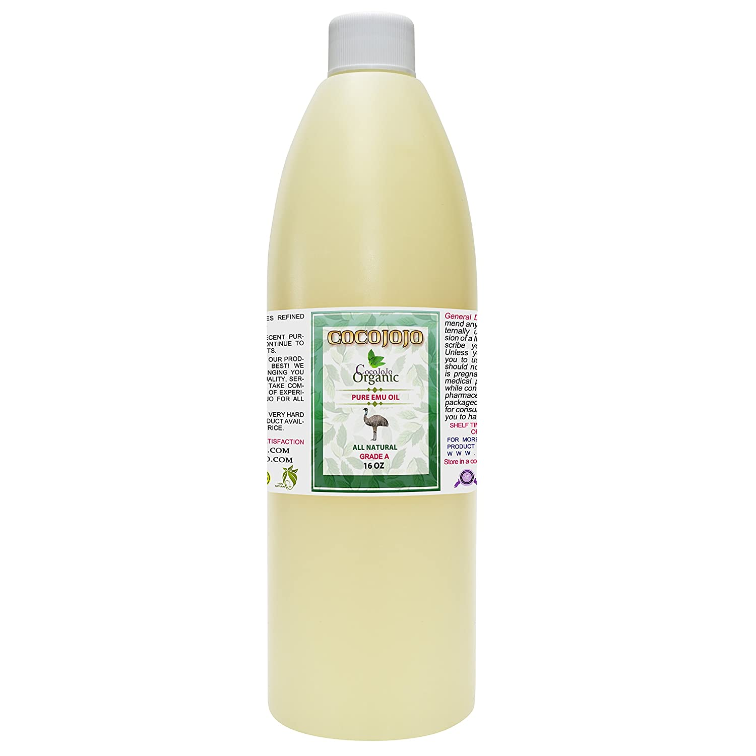 Emu Oil - 100% Pure Natural 16 oz 1 LB Hair Face Body Healthy Best Skin Hair Growth Split Ends Nails Cuticles Pain Relief Joint Pain Muscle 6 Times Refined Premium Grade