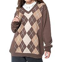 Women Y2K Vintage Argyle Plaid Sweater Pullover V Neck Long Sleeve Oversized Sweatshirt Preppy Aesthetic 90s Jumper Tops