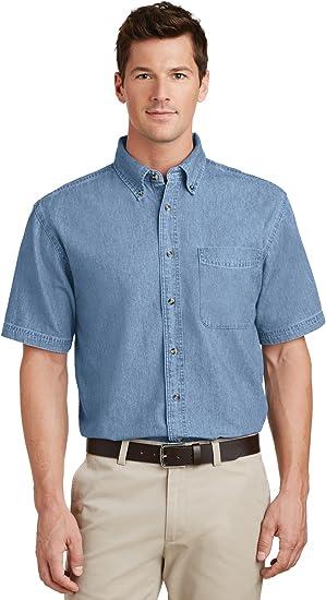 SP11 Port /& Company Short Sleeve Denim Shirt