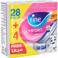 Fine Comfort, Absorbent, Sterilized, Soft, Flushable Toilet Paper, 2 Plies, Pack of 32 Rolls (28 + 4 Free Rolls). New…