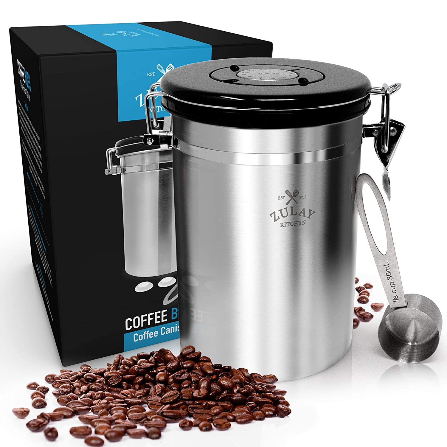 Ground Coffee Container Airtight Lid Coffee Boss Coffee Canister CO2 Valve /& Free Scoop Large Stainless Steel Coffee Bean Storage Container 64floz Best Storage for Fresh Coffee Beans by Zulay