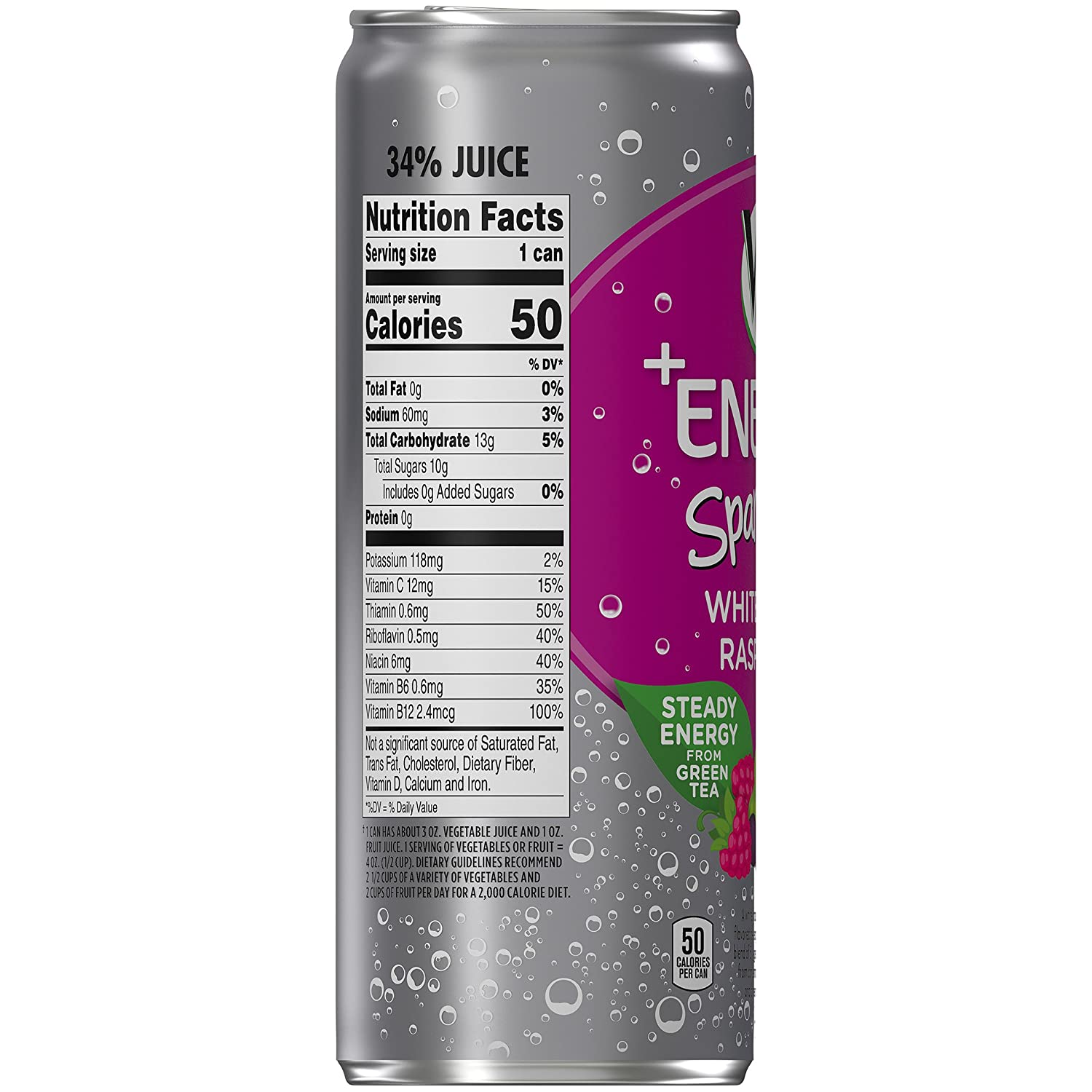 Amazon.com : V8 Energy, Sparkling Juice Drink with Green Tea, White ...
