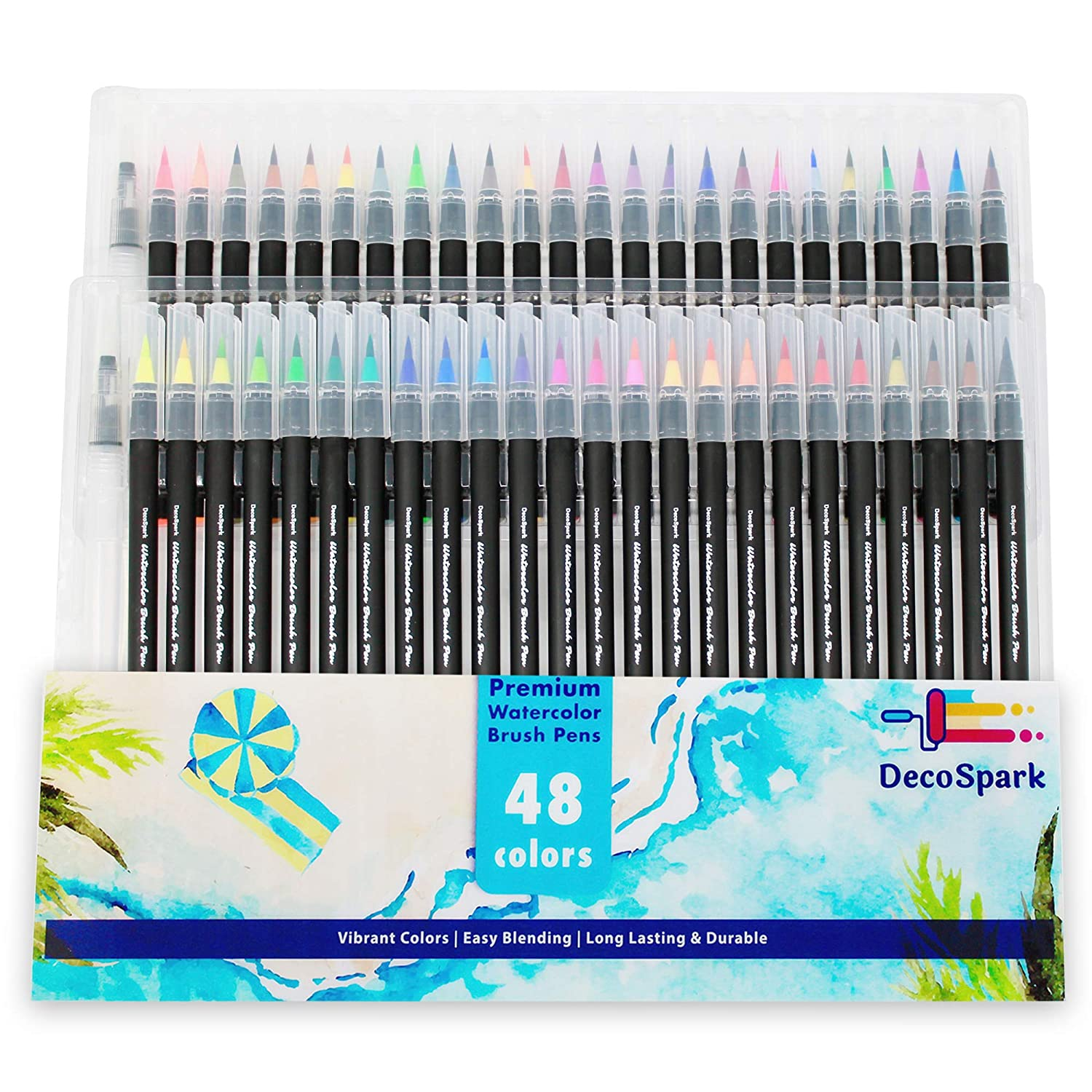 Watercolor Brush Pens Set | 20 Colors | Best Real Soft Brush Markers for Adult and Kids Coloring Books, Drawing, Calligraphy, Writing and More | Ultra Bright Pigment, Non-Toxic, Acid-Free | DecoSpark