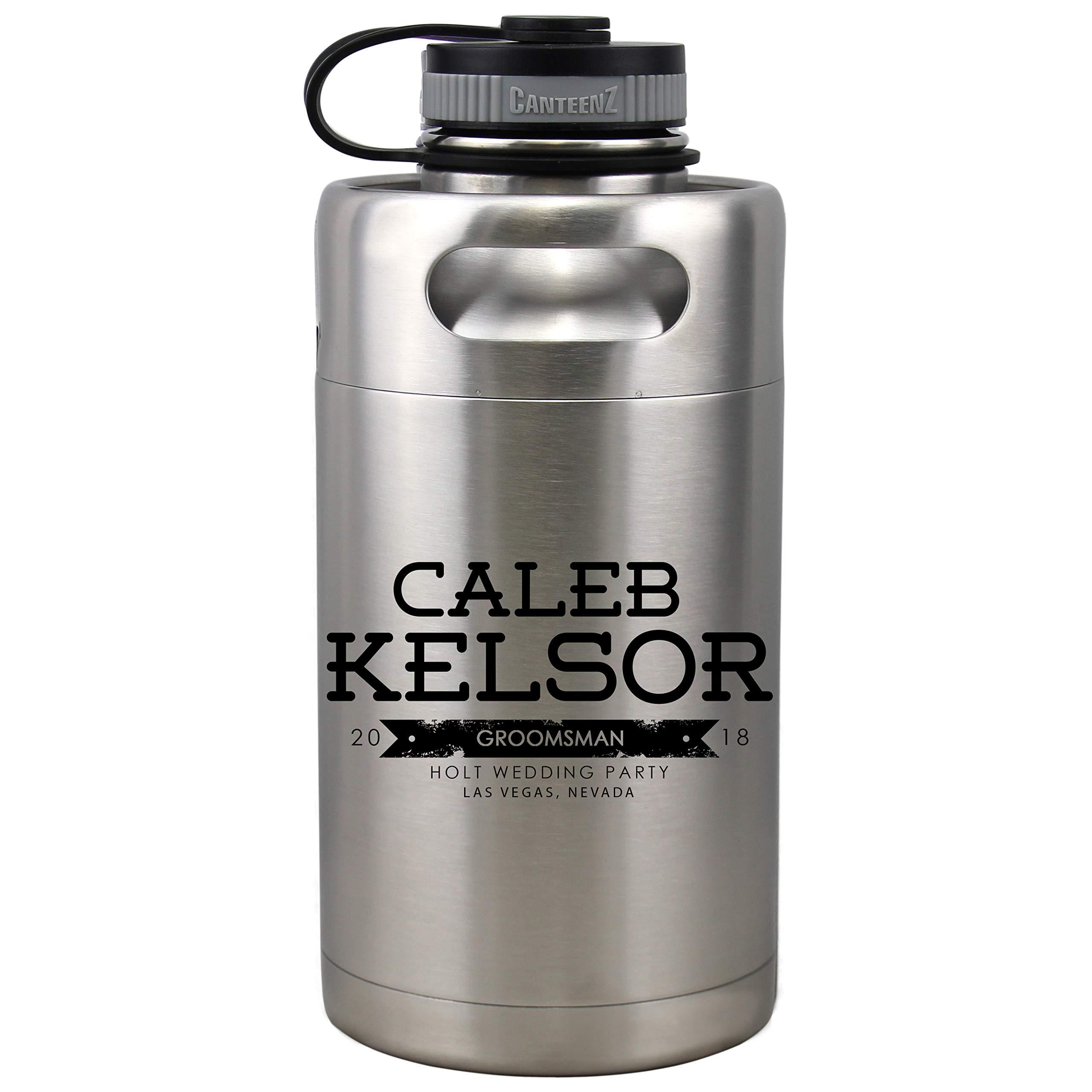 Personalized Etched Insulated Beer Growler 64oz Keg Groomsmen Gifts (Kelsor Design)