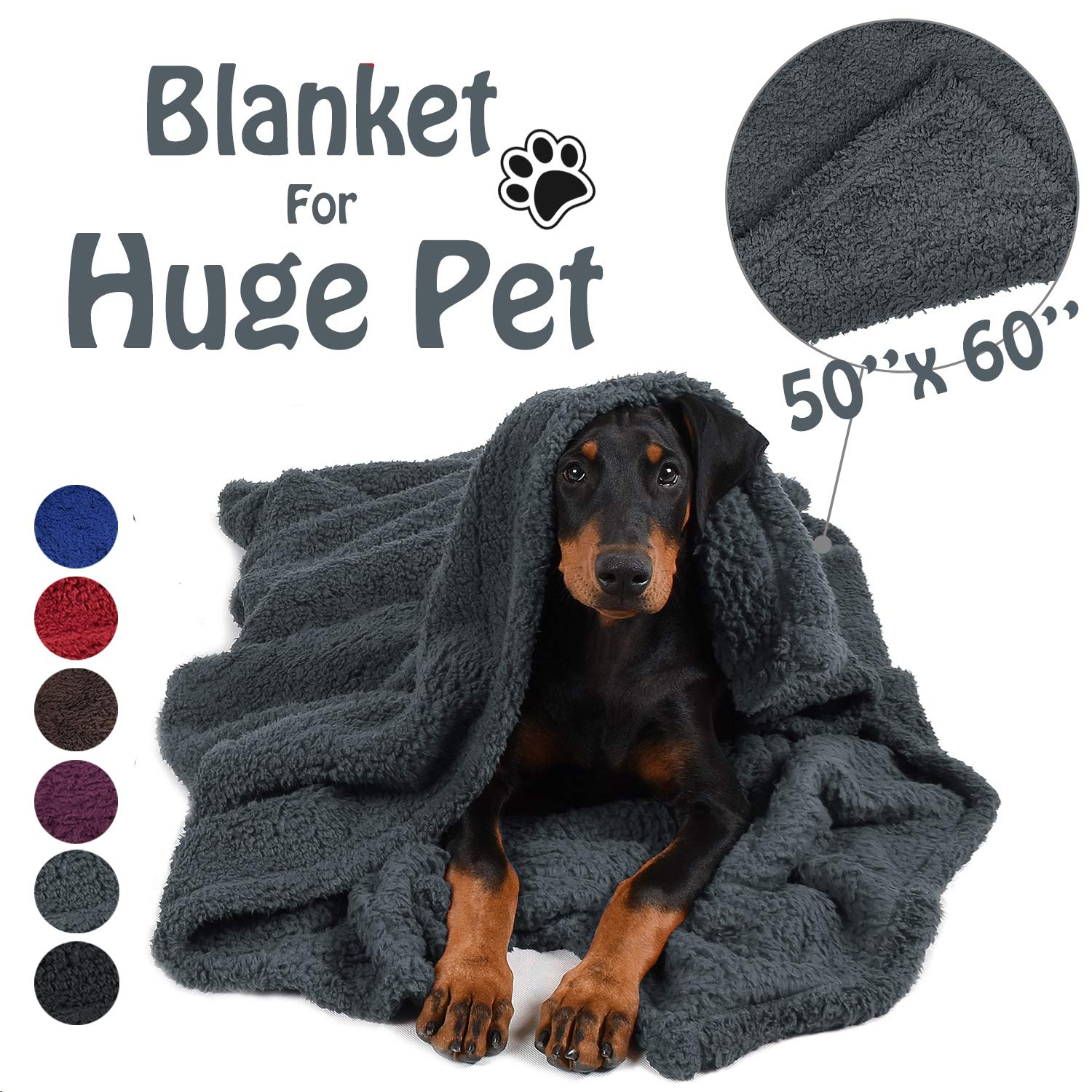 Pawsse Large Dog Sherpa Blanket 50'' x 60'', Super Soft Warm Plush Fleece Snuggle Pet Blanket Throw Cover for Couch Car Trunk Cage Kennel Dog Carrier, Grey