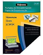 Fellowes 54772 - Portadas para encuadernar de polipropileno, A4, negro