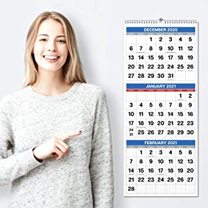 "Dunwell 2020-2021 3-Month Wall Display Vertical Calendar (11x26"" Open), Use June 2020 - December 2021, 3-Month Display, Three Month Look Ahead Calendar, 3 Tier 3 Panel Calendar for Good Organization"