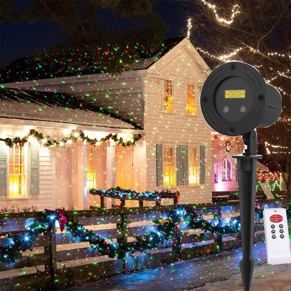 Outdoor Projector Lights Moving/Static Firefly Garden Light Projector Red and Green Stars Christmas Projector Lights Outdoor with RF remote for Christmas Holiday and Garden Show Decoration LSIKA-Z