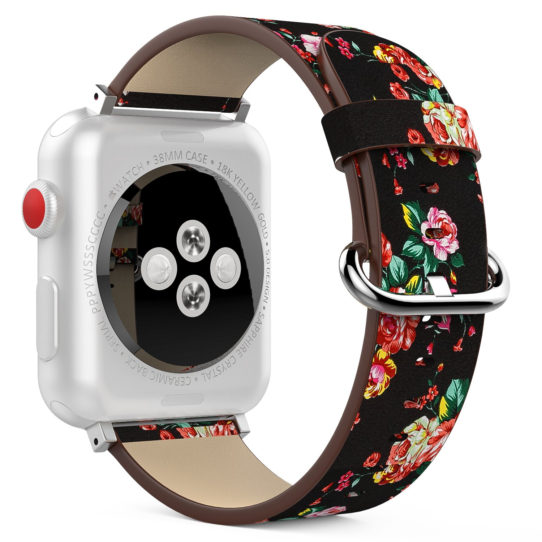 MoKo Band for Apple Watchシリーズ3バンド、プレミアム本革交換用ストラップ+ラグWatch iWatch 38 mm 2017年のシリーズ3 / 2 / 1、( Not Fit 42 mmバージョン Black & Colorful Peony Black & Colorful Peony B078H8YM3W