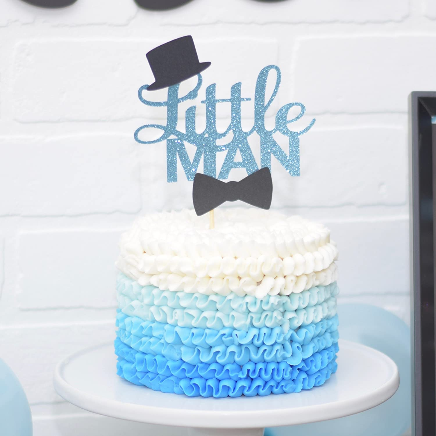 Amazon.com Blue and Black Little Man Baby Shower Cake