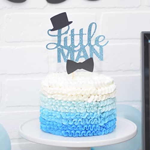 Amazon Blue And Black Little Man Baby Shower Cake Topper First