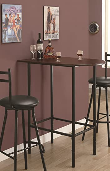 Monarch Specialties Metal Space Saver Bar Table, 24 By 36 Inch, Cappuccino/