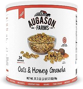 Augason Farms Oats & Honey Granola 35.27oz #10 Can, White/Orange
