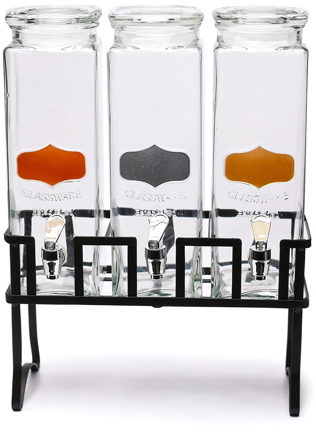 Circleware 69133 Triple XL Tall Yorkshire Beverage Drink Chalkboard Dispensers with Glass Lids and Black Metal Stand, 2.5 Quarts each each, Copper, Gold and Silver Panels