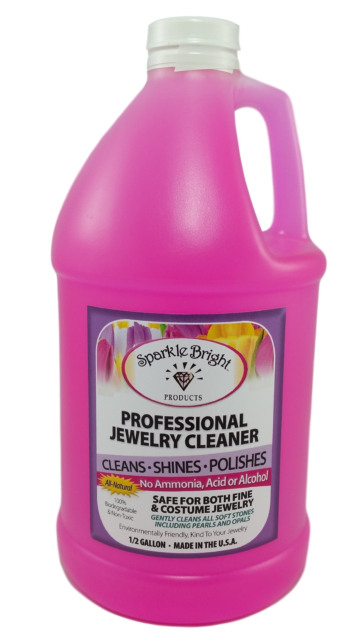 Sparkle Bright All-Natural Jewelry Cleaner Solution - Half Gallon (64oz.) | Jewelry Cleaning for Ultrasonic, Diamonds, Fine, Costume, Designer, Fashion Jewelry