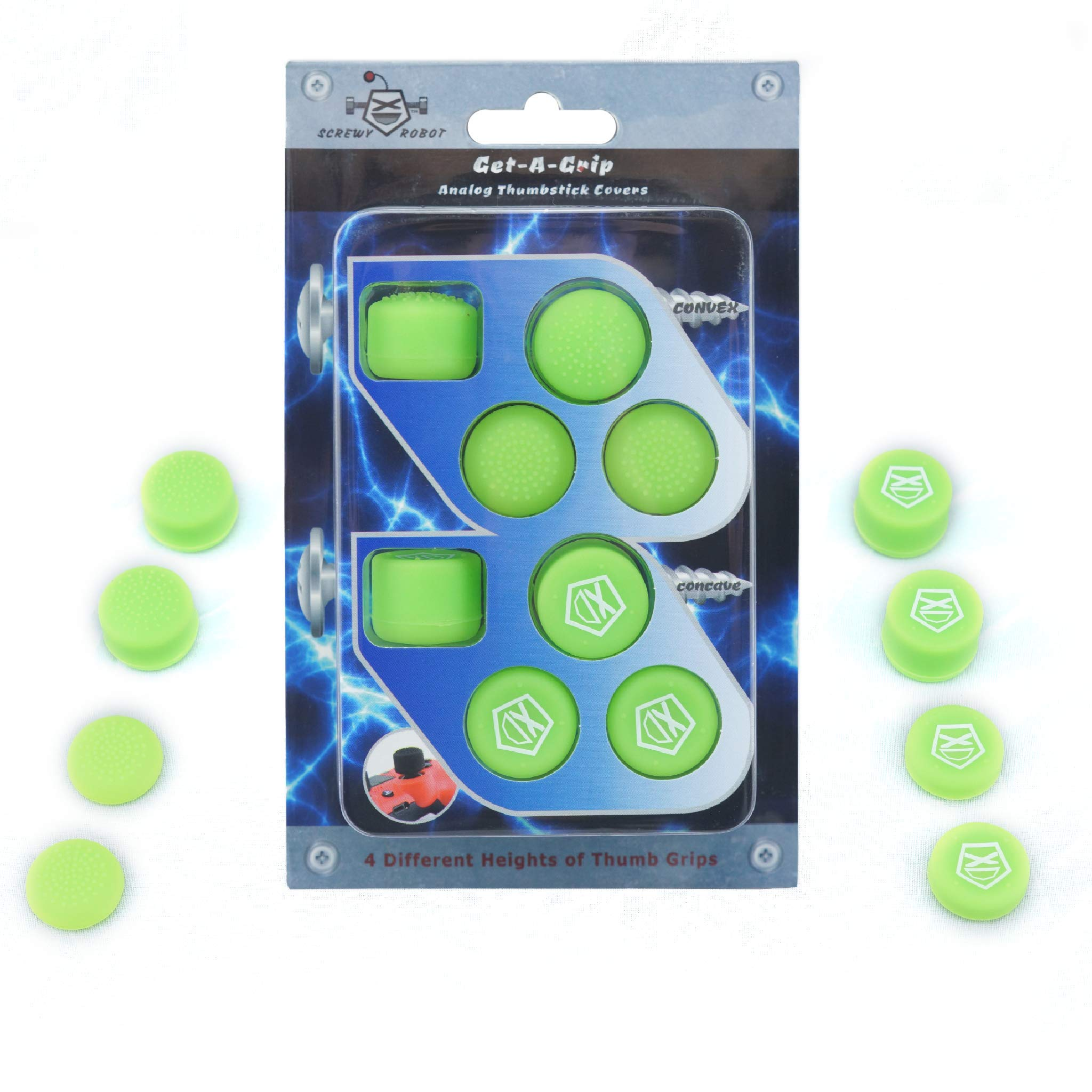 Get-A-Grip Analog Thumbstick Grip Covers for PS4/PS3 by ScrewyRobot (Green) by ScrewyRobot